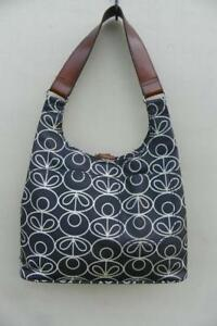 Orla Kiely Etc Black White Coated Canvas Leather Strap Hobo Shoulder Bag Tote