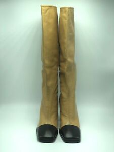 Chanel CC Logo Camel With Black Cap Toe Runway Boots-New Size 8
