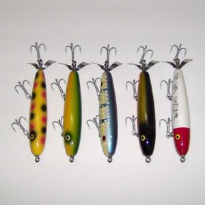 NEW!  MIXED LOT of (5) LUHR JENSEN BIG-GAME WOOD CHOPPER WOOD LURES  EX+++