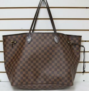 AS IS  Authentic Louis Vuitton Neverfull GM Shoulder Tote Hand Bag Damier Brown