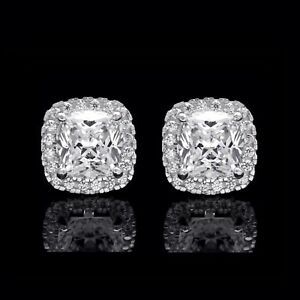 2 Ct Halo Cushion & Round Created Diamond Earrings 14K White Gold Square Studs