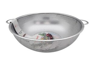 13.5 Inches Stainless Steel Rice Pasta Vegetable Fruit Colander, Silver