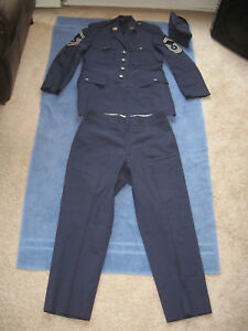 Vintage1975 USAF Enlisted Dress Blue Uniform and Hat Tropical Blue