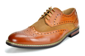 Bruno Marc Mens Prince Leather Lined Lace up Wing Tip Formal Dress Oxfords Shoes