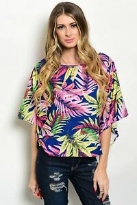Beautiful Off Navy Blue Multicolored Tropical Leaf  Woven Top with Wide Sleeves