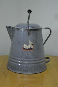Early 1900#x27;s GraniteWare Large 2 Gal. Camp Coffee Pot Large Double Handles Wood $379.99