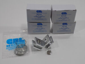 LOT OF 4 CRL Chrome Anodized Aluminum Two-Way 90 Degree Glass Connectors - E214A