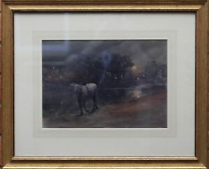 ARTHUR HOPKINS BRITISH VICTORIAN PAINTING CANAL HORSE NOCTURNE ART 1848 1930 $2900.00