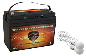 VSG12 100AH AGM Battery 2 LED Lights Solar Controller Camping Tent Power Supply