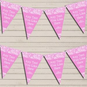 Pretty Lace Baby Pink Wedding Anniversary Bunting Garland Flag Banner