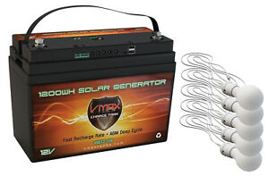 VSG12 100AH AGM Battery 5 LED Lights Solar Controller Camping Tent Power Supply