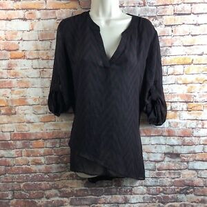 New York & Company Medium Sheer Purple Black Chevron Blouse Top Roll Tab Sleeves