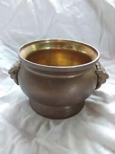 Vintage Thai Solid Brass Pot with Lion Head Lotus Brand Incense Candle Holder