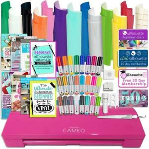 Silhouette Pink Cameo 3 Bluetooth Bundle with Oracal 651 Vinyl Pens