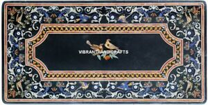 Black Marble Table Top Inlaid Design Art Living Home Center Decorated Work H3858