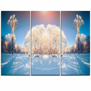Horizontally Flipped Winter Trees - 3 Piece Graphic Art on Wrapped Canvas Set