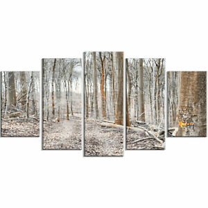 'Dense Forest in the Winter' 5 Piece Photographic Print on Wrapped Canvas Set