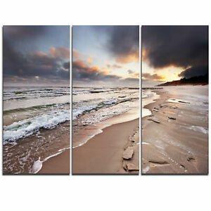Shore of Baltic Sea during winter - 3 Piece Graphic Art on Wrapped Canvas Set