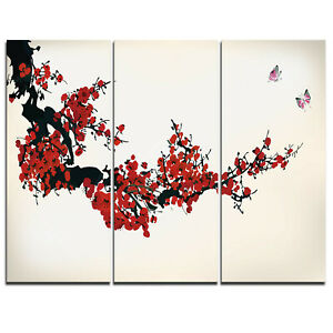 Design Art Floral Winter Sweet - 3 Piece Graphic Art on Wrapped Canvas Set