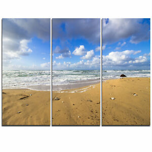 Sea Beach on Cloudy Winter Day - 3 Piece Graphic Art on Wrapped Canvas Set