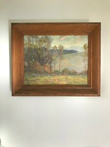 Antique Oil on Board Painting by Listed American Artist August Rolle - Signed