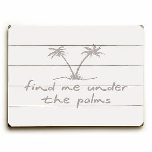 Bayou Breeze 'Find Me Under the Palms' Rectangle Textual Art on Wood