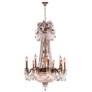 USA BRAND Winchester 15 Light Antique Bronze Crystal Candle Chandelier D30