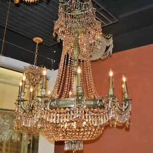 CLEARANCE SALE Winchester 18 Light Antique Bronze Crystal Chandelier 36