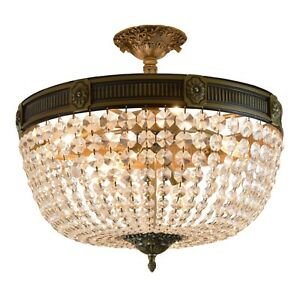 Winchester 6 Light Antique Bronze Golden Teak Crystal Basket Ceiling D20