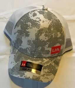 New Under Armour Snapback Golf Hat White one size fits all UA Pro Fit Gray Camo