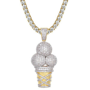 Iced Out Ice Cream Scoops Designer Cone Pendant Set 14K Gold Tone Chain Choice