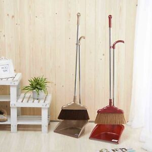 High Quality Broom Dustpan Set For Home Floor Cleaning Brown Red $19.99