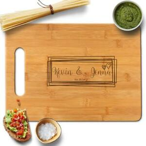 Personalized Bamboo Cutting Board engraved Gift for couples heart Sqaure Names