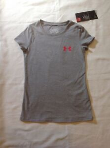 Girls Under Armour HG Loose Fit Short Sleeve Cotton PolyTshirt Gray XS 7 NWT $12.99