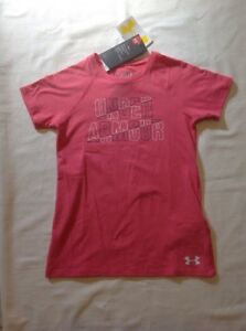 Girls Under Armour HG Loose Fit Short Sleeve Cotton PolyTshirt Pink XS 7 NWT $12.99