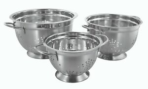 Stainless Steel Pasta Strainer Deep Colander, 3 / 5 / 8 Quarts