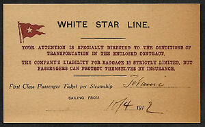 Titanic White Star Line Reprint Ticket On Original Period 1912 Paper *001