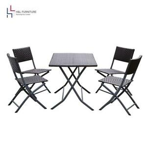 H&L Patio Resin Rattan Steel Folding Bistro Set Parma Style All Weather...