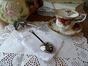 Heart Shape Tea Infuser Spoon and Lace Bag Bridal Baby Shower Favor Gift Set New