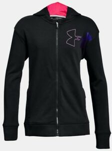 Under Armour Threadborne black zip hoodie sweatshirt jacket NWT girls' L YLG
