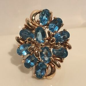Vintage Blue Topaz 10k Yellow Gold Cocktail Ring Womens Size 6.75