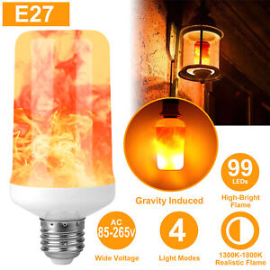 2/4Pcs 5W 99 SMD LED Flicker Flame Light Bulb Burning Fire Effect Festival Party