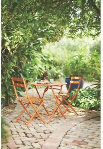 Patio Bistro Set Burnt Orange 3-Piece All-Weather Steel Folding Chairs And Table