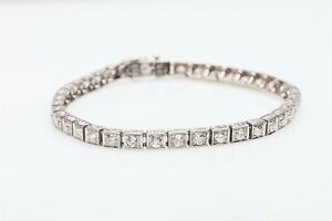 Designer $15000 Signed TK & Co 7ct Diamond 14k White Gold Tennis Bracelet