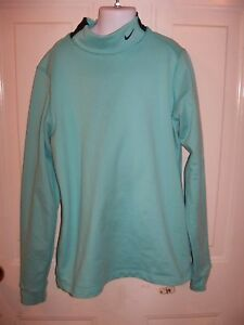 Nike Fit Dry Turtle Neck Light Blue Long Sleeve Thick Shirt Size M Girl's EUC