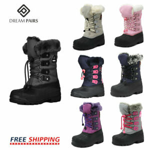 DREAM PAIRS Kids Boys Girls Snow Boots Insulated Faux Fur Lined Winter Ski Boots $24.63
