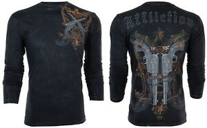 AFFLICTION Mens LONG SLEEVE T-Shirt DEAD OR ALIVE Guns Motorcycle Biker UFC $68
