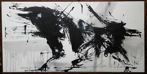 ABSTRACT EXPRESSIONIST BLACK WHITE BRITISH MODERNIST HUGE OIL PAINTING ART 1973