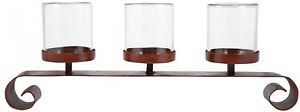 Tanner 13 in. x 32 in. Montana Rustic Iron Clear Glass Centerpiece Candle Holder
