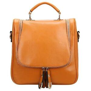 S-ZONE Ladies Women Leather Shoulder Bag Cross Body Handbag Convertible Backpack